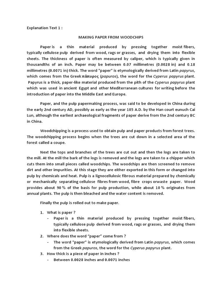 Contoh soal dan pembahasan explanation text pulp paper paper kristyandbryce Image collections
