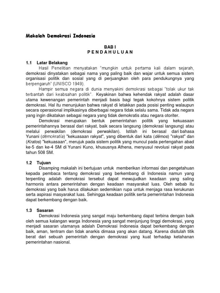 Makalah Demokrasi Indonesia
