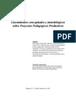 Lineamientos conceptuales y metodológicos sobre proyectos pedagógicos productivos