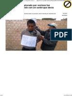 """Tacna_ Ladrón capturado por vecinos fue amarrado a un poste con un cartel que decía """"soy ratero"""""""