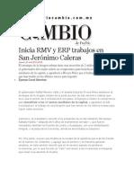 20-06-2013 Diario Matutino Cambio de Puebla - Inicia RMV y ERP trabajos en San Jerónimo Caleras