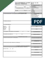 R16 (PG - GCS -08) Formulario de No Conformidades Acciones Correctivas y Preventivas