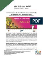 Boletín 067 Jornada nacional  de intensificación de vacunación del 25 de noviembre al 15 Diciembre de 2013.