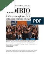 25-11-2013 Diario Matutino Cambio de Puebla - RMV arranca giras a PAN estatales; empieza en Nuevo León