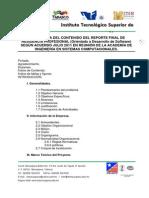 Estructura Del Contenido Del Reporte Final de Residencia Profesional 2011 Software