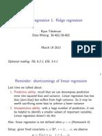 Modern Regression - Ridge Regression