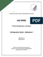 IHS RPMS FOIA Distribution Version Configuration Guide Addendum I