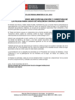 MINISTRO DEL INTERIOR-MÁS ESPECIALIZACIÓN Y COBERTURA DE LA POLICÍA PARA CASOS DE VIOLENCIA CONTRA LA MUJER