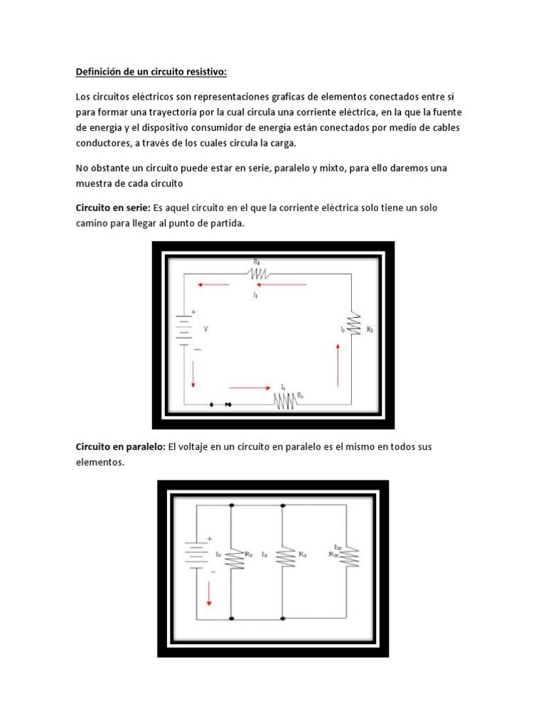 Circuito Y Sus Partes : Definición de un circuito resistivo