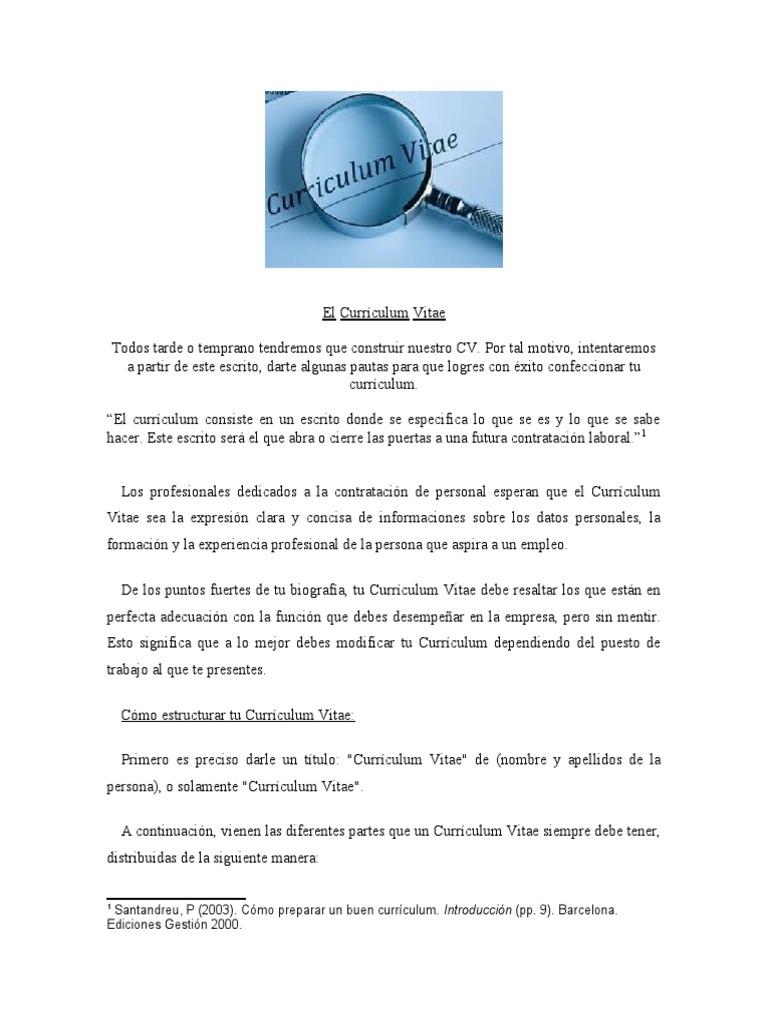 Vistoso Currículum Para Jóvenes Elaboración - Ejemplo De Colección ...