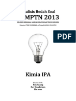 Analisis Bedah Soal SBMPTN 2013 Kimia IPA