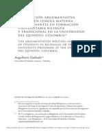 PRODUCCIÓN ARGUMENTATIVA ESCRITA EN LENGUA MATERNA DE ESTUDIANTES EN FORMACIÓN UNIVERSITARIA BILINGÜE Y TRADICIONAL EN LA UNIVERSIDAD DEL QUINDÍO, COLOMBIA