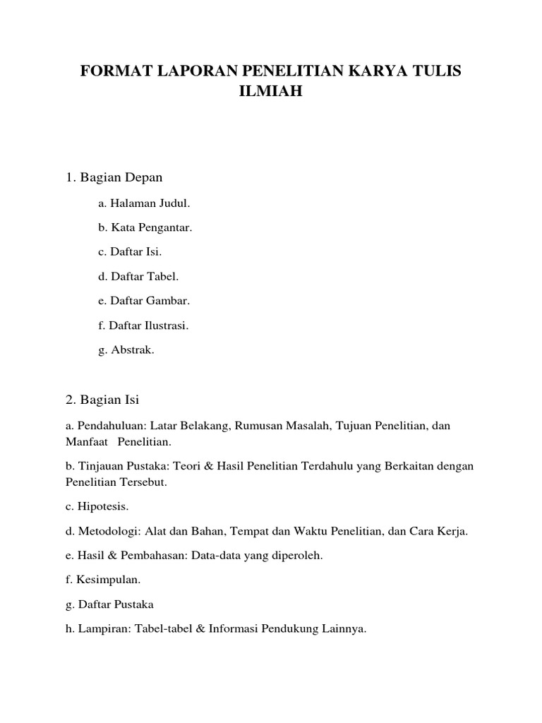 Format Laporan Penelitian Karya Tulis Ilmiah Docx
