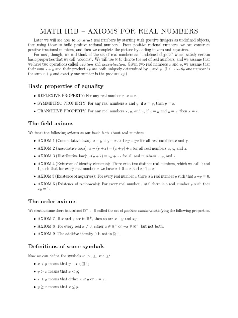 Axioms Real Numbers Real Number Integer