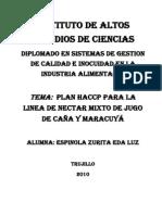 HACCP NECTAR JUGO CAÑA Y MARACUYA