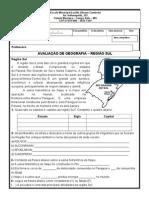 AVALIAÇÃO DE GEOGRAFIA – REGIÃO SUL