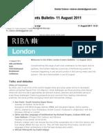 RIBA London Events Bulletin- 11 August 2011