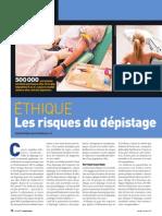 Ethique - Les risques du dépistage
