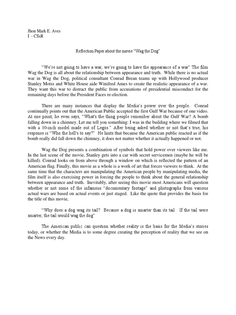 movie wag the dog reflection paper
