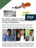 MP arquiva denúncias contra presidente da camara de Queimadas e recomenda extinção de cargos comissionados