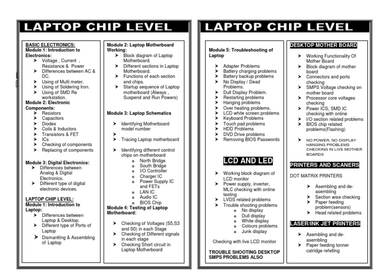 Laptop Chip Level Broucher Laptop Power Supply