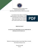 PROTOCOLO DA PERTURBAÇÃO DE ANSIEDADE DE SEPARAÇÃO