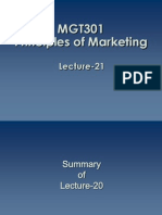 Principles of Marketing - MGT301 Power Point Slides Lecture 21
