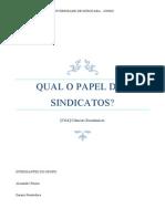 CIÊNCIAS ECONOMICAS - SINDICATOS
