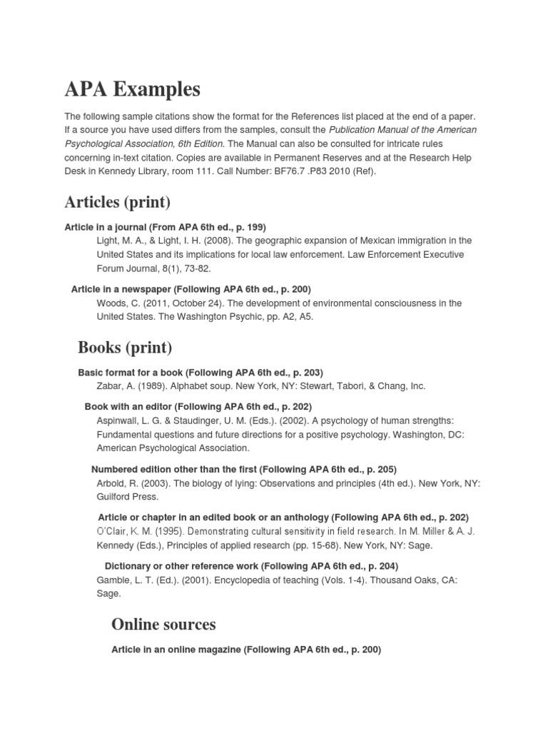 apa examples american psychological association psychology