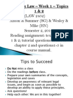 Company Law - Lecture - Week 1 - Sem 2-2012