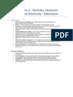 Physics as - Unit d- Definitions