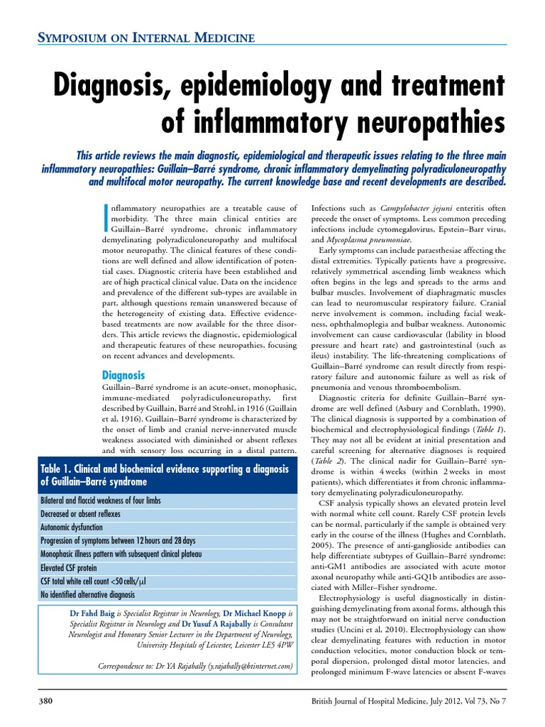 Diagnosis, Epidemiology and Treatment of Inflammatory Neuropathies | Peripheral Neuropathy | Neurological Disorders