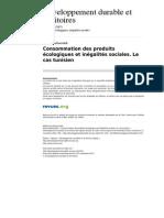 Developpementdurable 3733 Dossier 9 Consommation Des Produits Ecologiques Et Inegalites Sociales Le Cas Tunisien