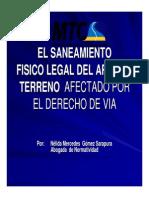 El Saneamiento Fisico Legal Del Area de Terreno Afectado Por El Derecho de Via
