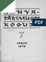 Viidalepp, Richard 1970. ERA-nimelise rahvaluulekogu kujunemisest