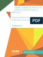 Informe proyecto presupuesto 2014 Educación final 26 NOV