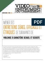 Mener des Entretiens Sûres, Efficaces et Éthiques de Survivants de Violence á Caractère Sexuel et Sexiste