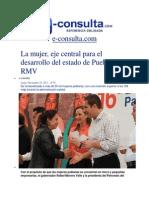 25-11-2013 E-consulta.com - La Mujer, Eje Central Para El Desarrollo Del Estado de Puebla, RMV