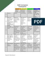 SWR Schedule Kindergarten