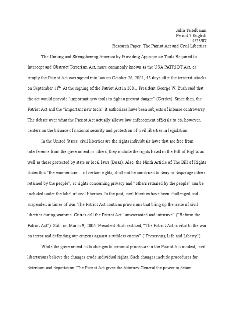 Patriot act research paper scholarship essay writing tools