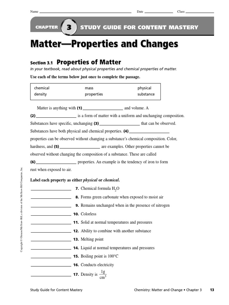 worksheet The Mcgraw Hill Companies Worksheet Answers chemistry 1 chapter 3 study guide packet matter chemical substances