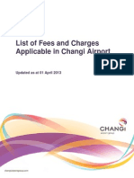 List of Fees and Charges Changi