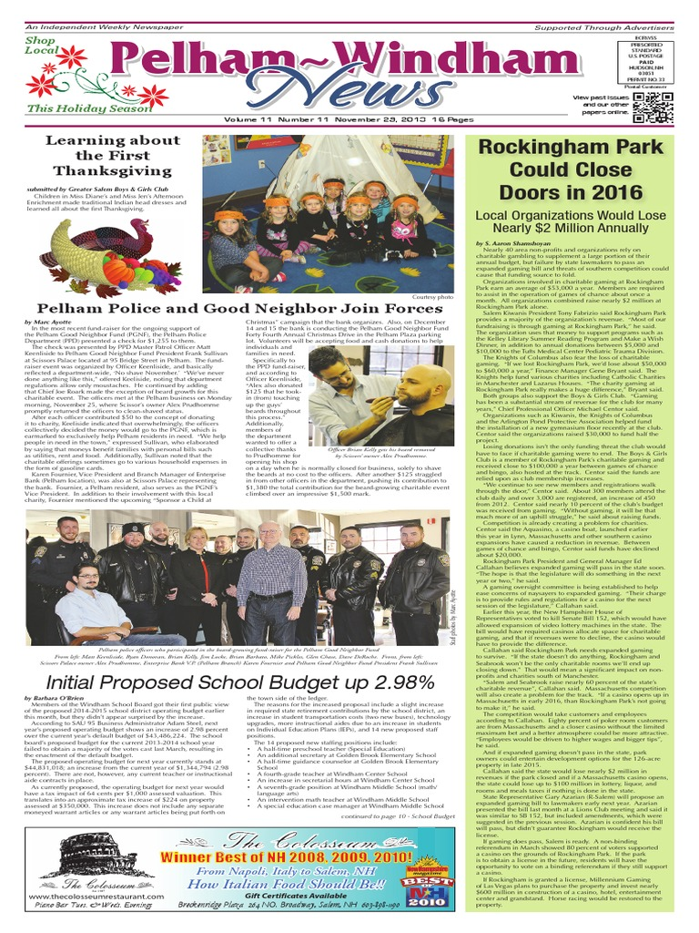 Pelham~Windham News 11-29-2013 | School Choice | Charter School