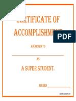 certificateofaccomplishment superstudent