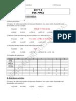 Unit 5 - Exercises and Word Problems (Decimals)