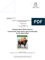 European Bison (Bison Bonasus) Current State of the Species and Action Plan for Its Conservstion