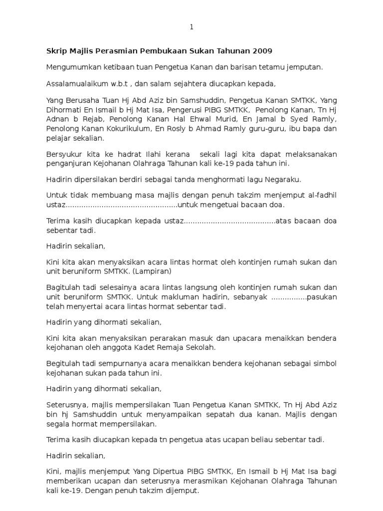 Skrip Majlis Perasmian Pembukaan Sukan Tahunan 2009