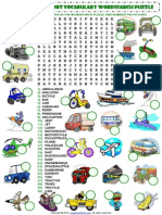 Means of Transport Wordsearch Puzzle Vocabulary Worksheet