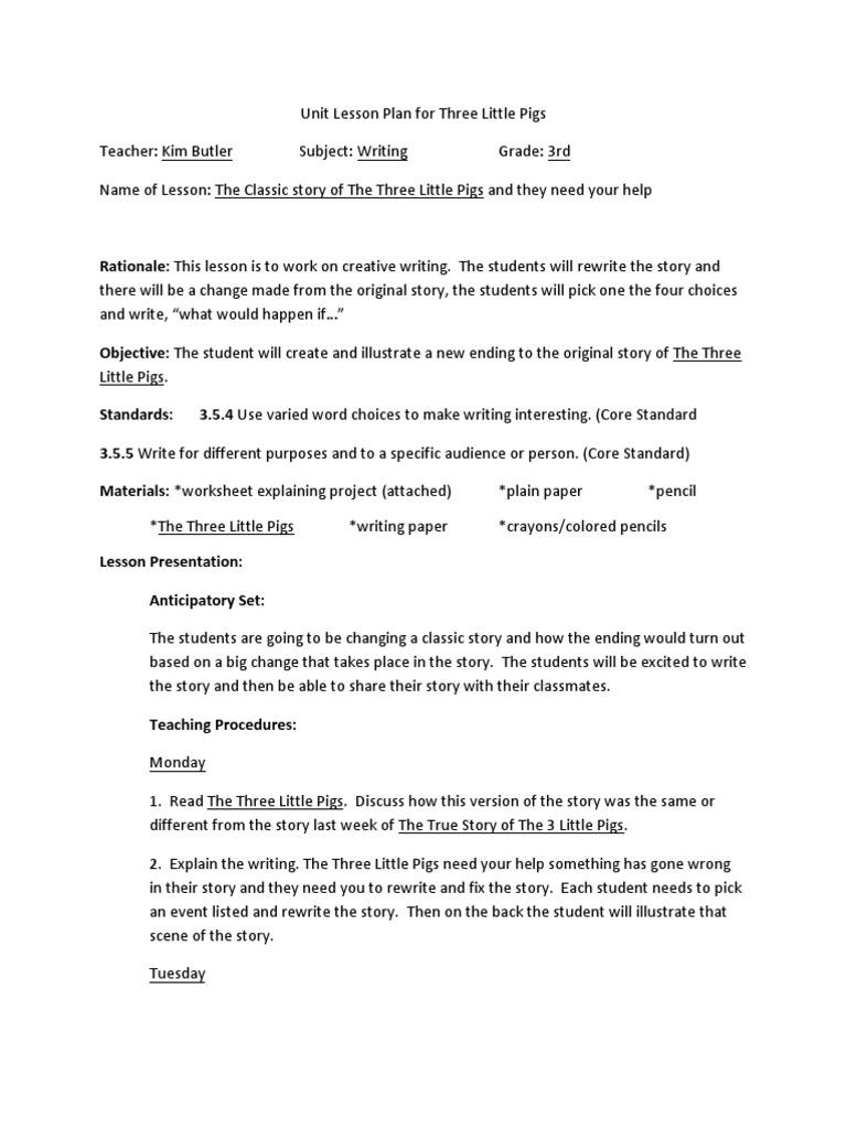 Workbooks story writing worksheets for grade 1 : lp2 three little pigs writing | Lesson Plan | Pedagogy