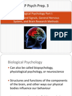 AP Psych Prep 3 - Biological Psychology (Part I)